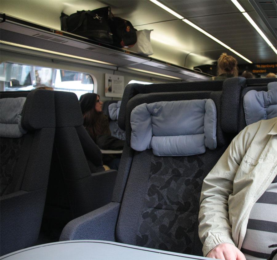 Интерьер поезда Копенгаген Гамбург