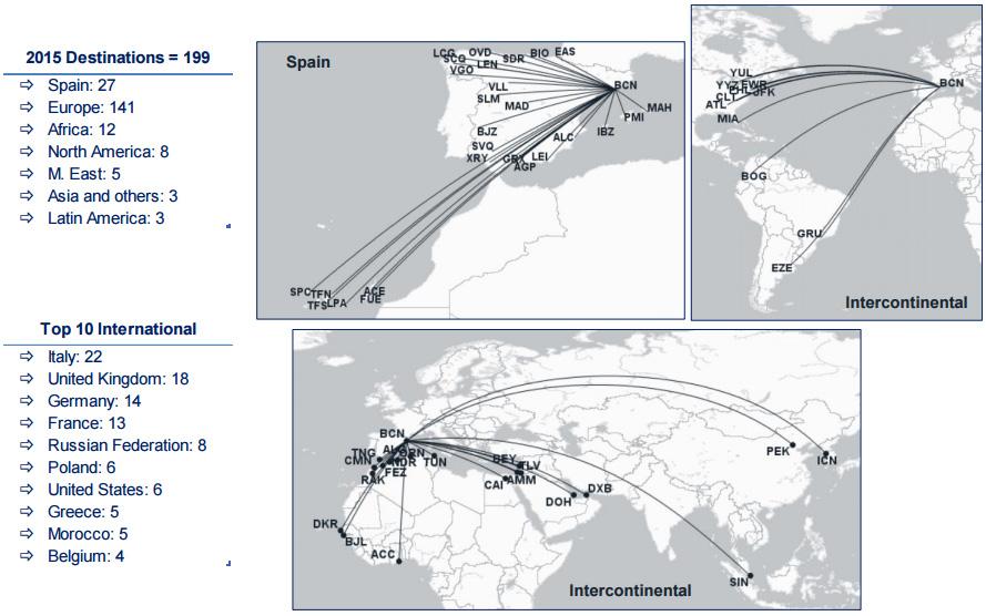карта маршрутов из аэропорта Барселоны