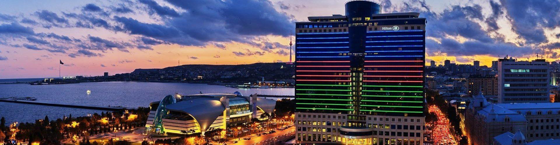 Видна ночной Баку
