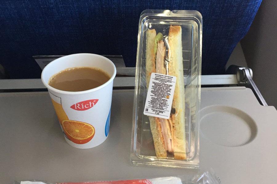 Питание на рейсе Аэрофлота Прага - Москва