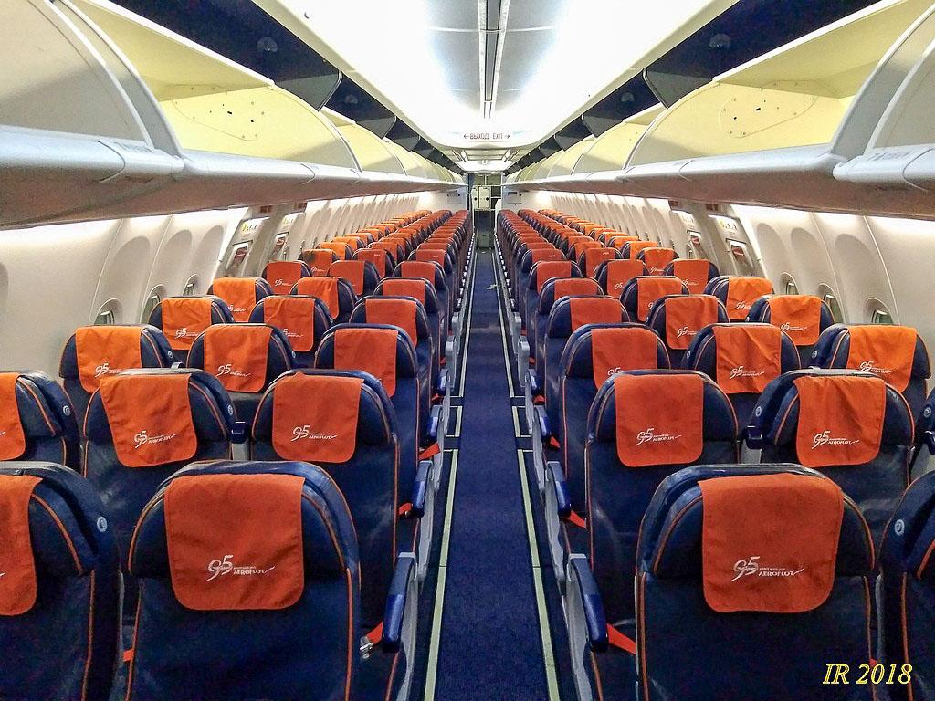 Салон экономического класса в Боинг738 Аэрофлота