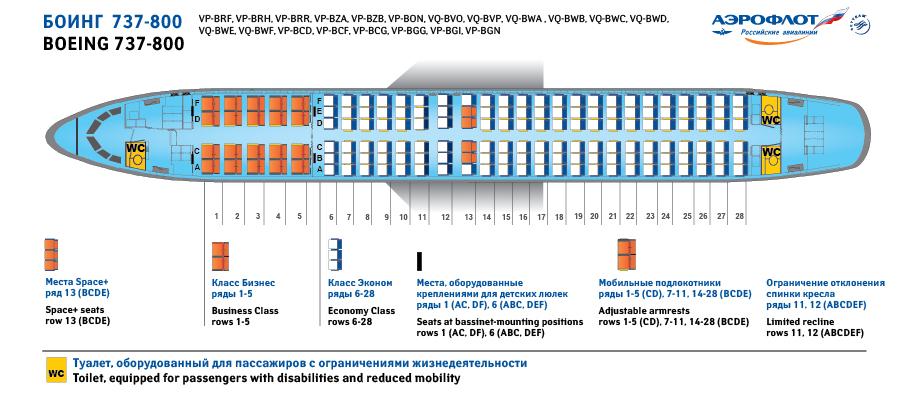 Боинг 737-800 схема мест аэрофлот