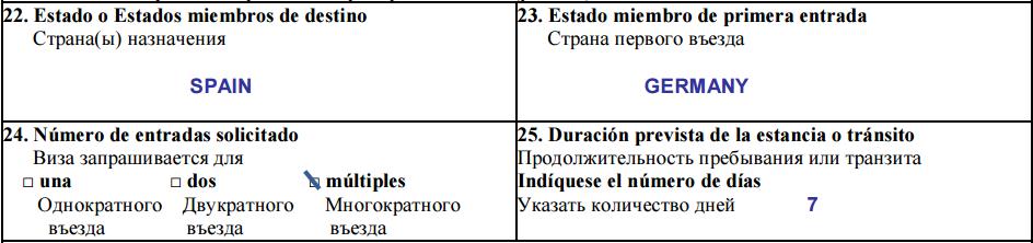 Пункты 22-24 анкеты на визу в Испанию