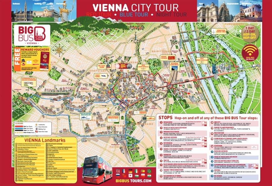 Карта маршрутов автобусов Big Bus в Вене