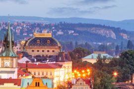 Вид на вечернюю Прагу