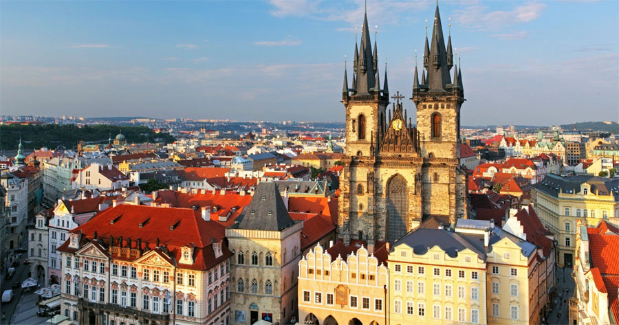 Вид на Прагу в высоты