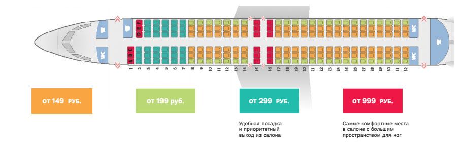 Схема мест в салоне Боинг 738 авиакомпании Победа