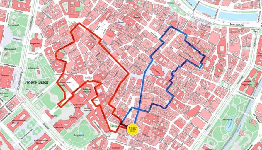 Карта маршрутов обзорной экскурсии в Вене