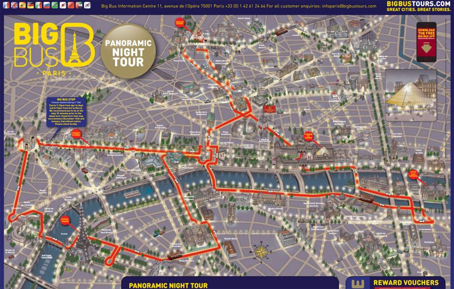 Карта ночного маршрута в Париже