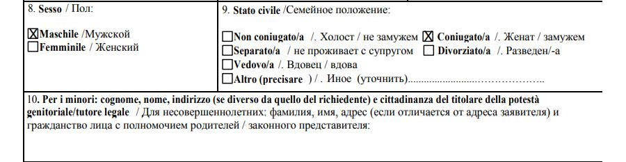 Образец второго пункта анкеты на визу в Италию