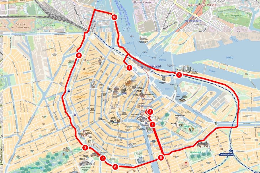 Карта красного маршрута туристического автобусы в Амстердаме