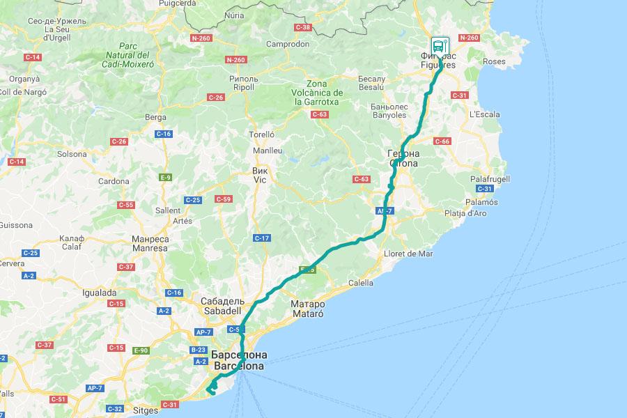 Маршрут автобуса из Барселоны в Жирону