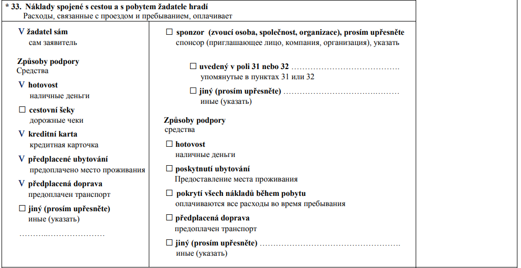 Образец заполнения анкеты на визу в Чехию 7