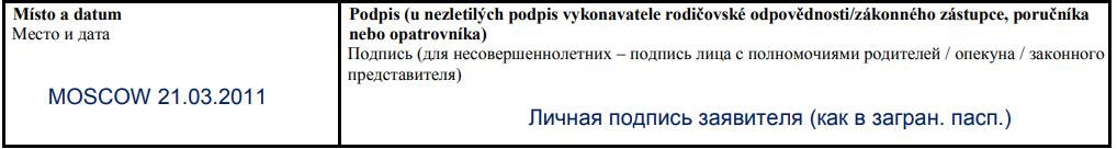 Образец заполнения анкеты на визу 9