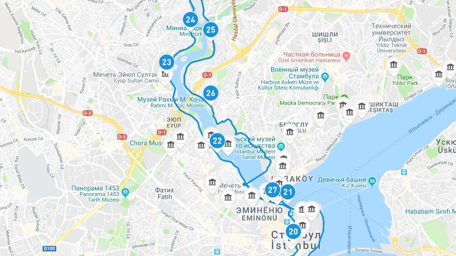 Синий маршрут автобуса