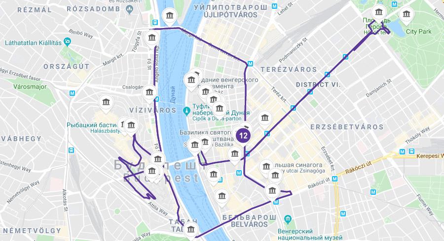Ночной маршрут по Будапешту