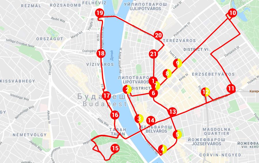 Карта красного маршрута